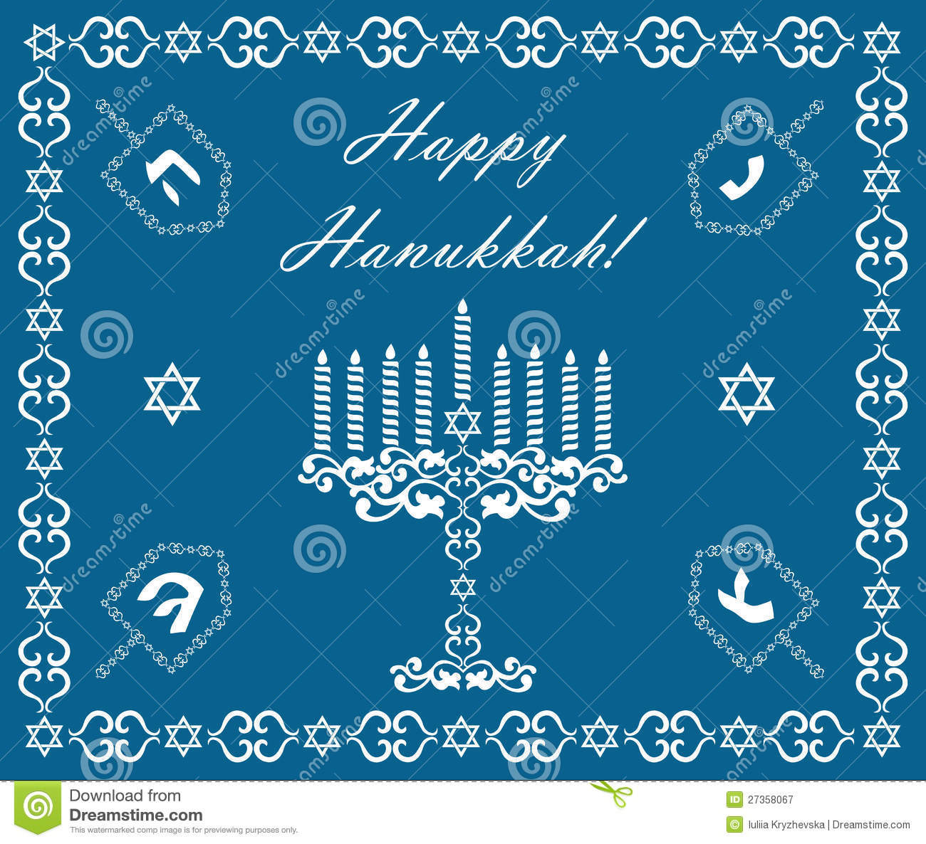 Chanukah holiday background with dreidels