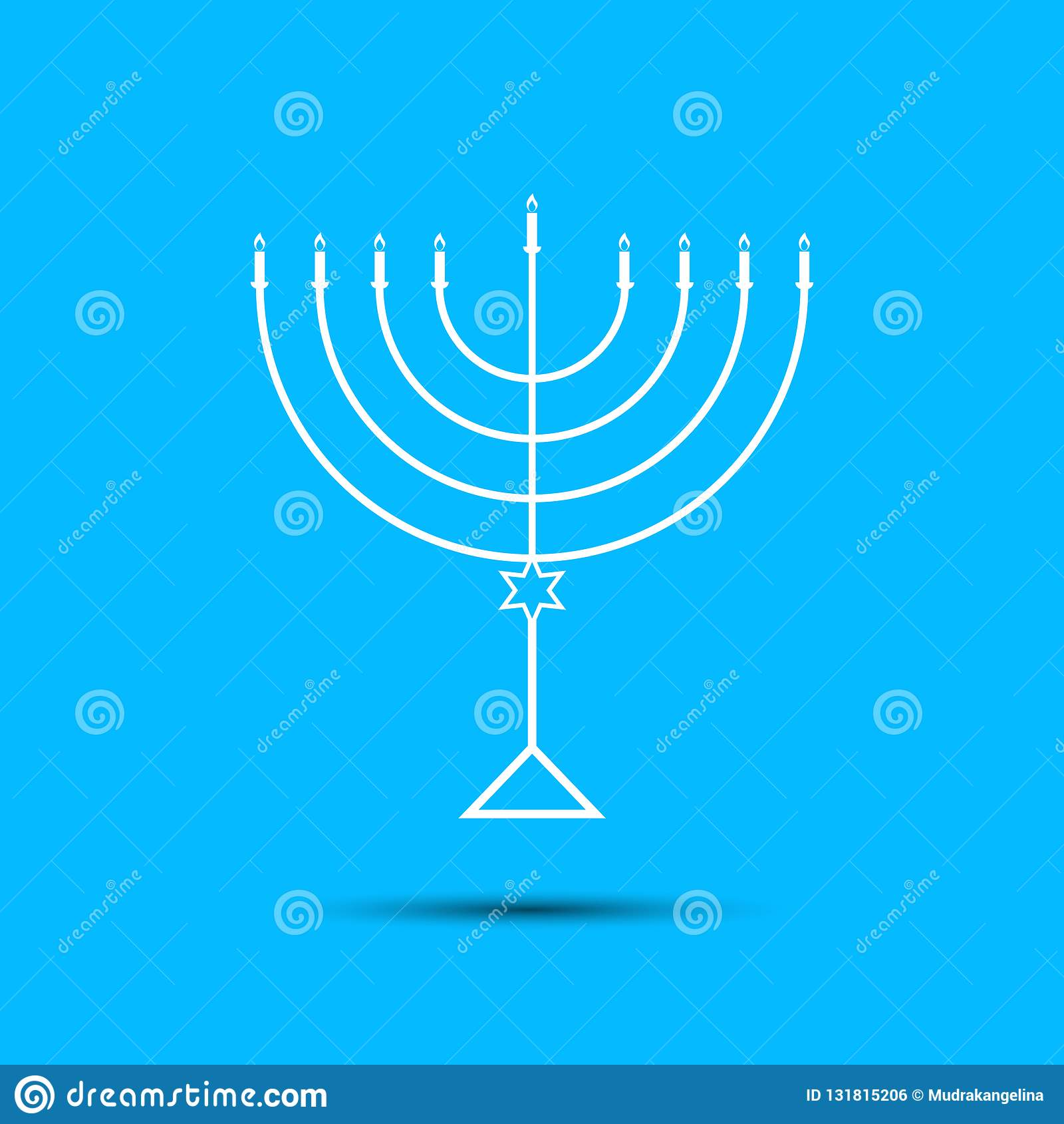 Chanukkahmenoror på ljust - blå bakgrund a