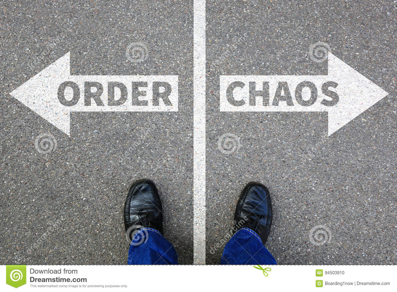 Chaos and order organisation office businessman business concept