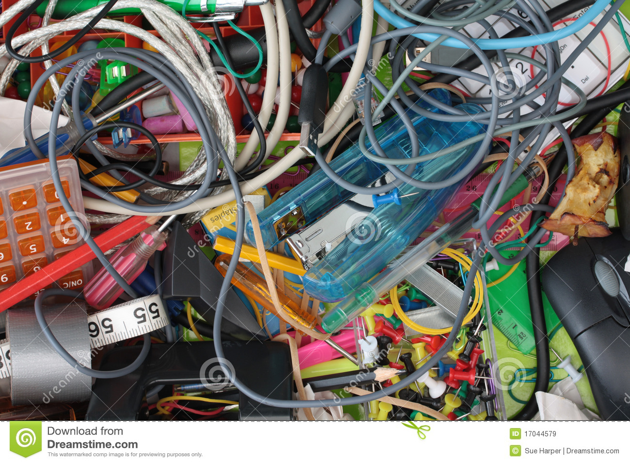 Chaos In The Stationery Drawer Stock Image Of Horizontal Wiring Closet Mess Elevated View Seedy World Messy