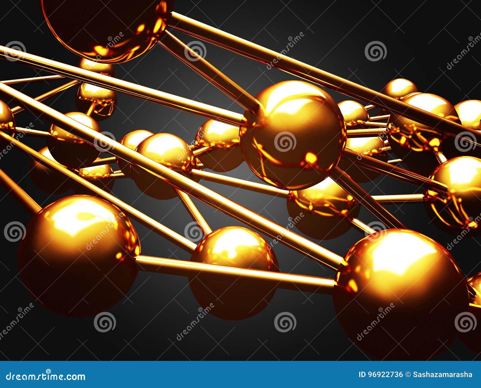Chaotyczny złoty kul ziemskich sfer abstrakta tło