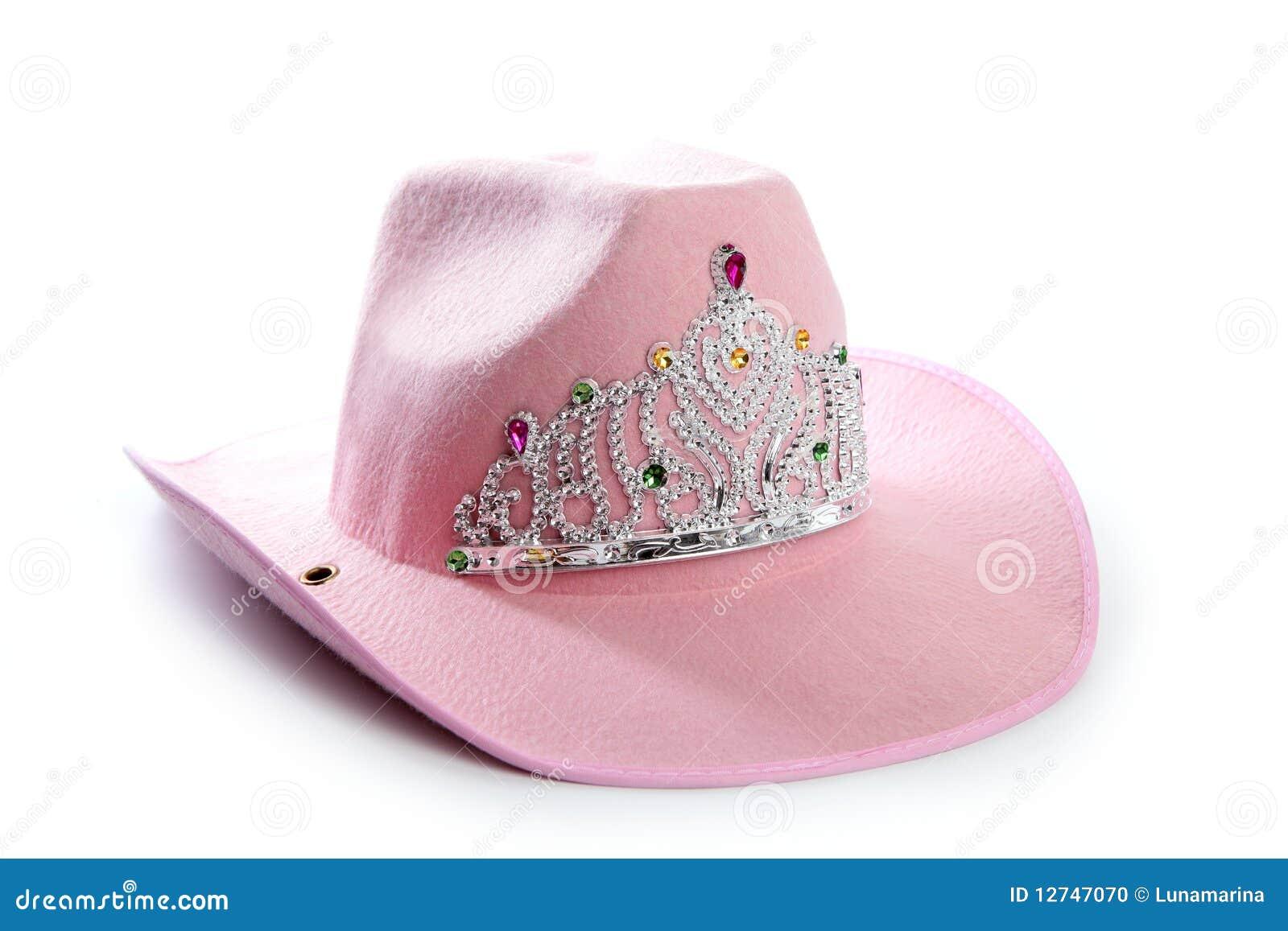 250e35dccd555 Chapéu do cowgirl do cowboy da cor-de-rosa da menina das crianças com coroa  da princesa