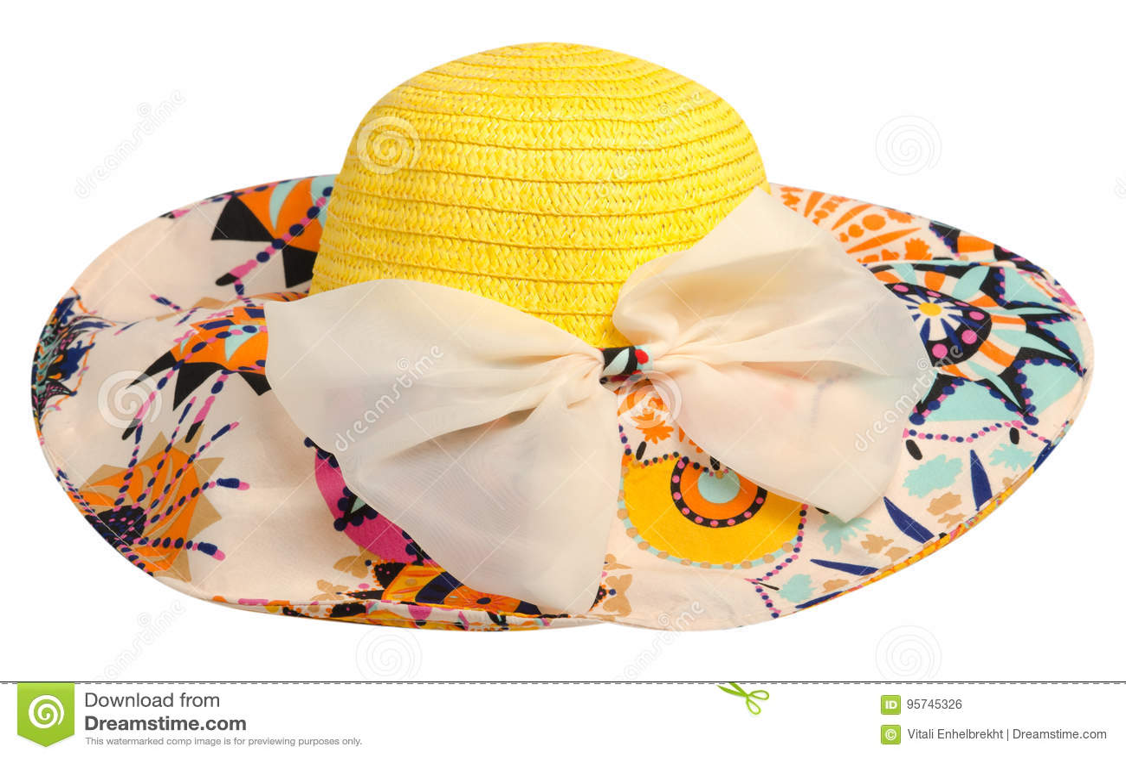 29c4611b6d Chapéu da mulher isolado no fundo branco Women& x27; chapéu da praia de s  Chapéu colorido