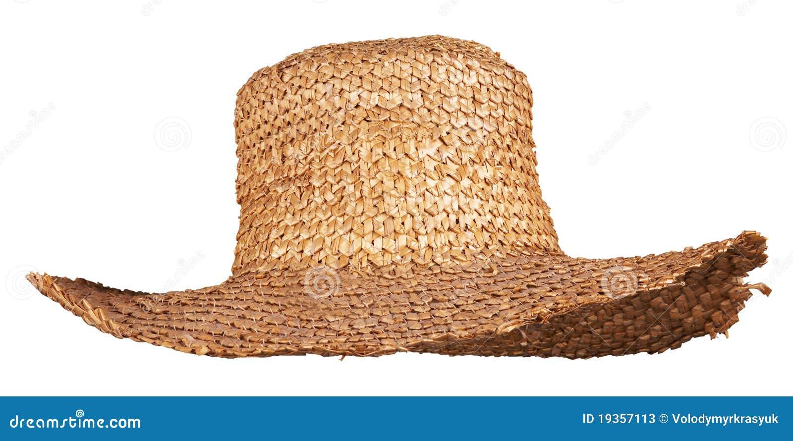 Chapéu de palha de vime amarelo isolado