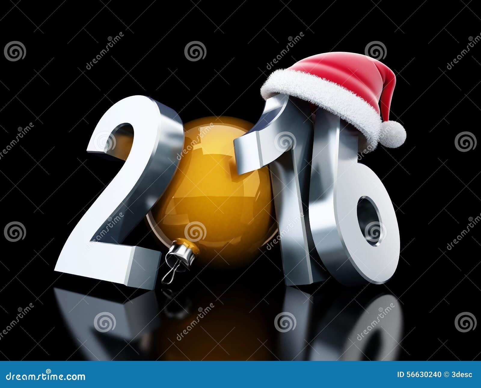 Chapéu 2016 de Santa do ano novo feliz