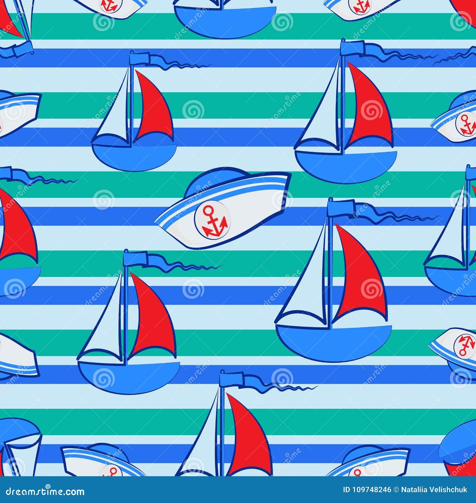 Chapéu Dos Marinheiros E O Veleiro Em Um Fundo Listrado Ilustração ... 3651b7fecf0