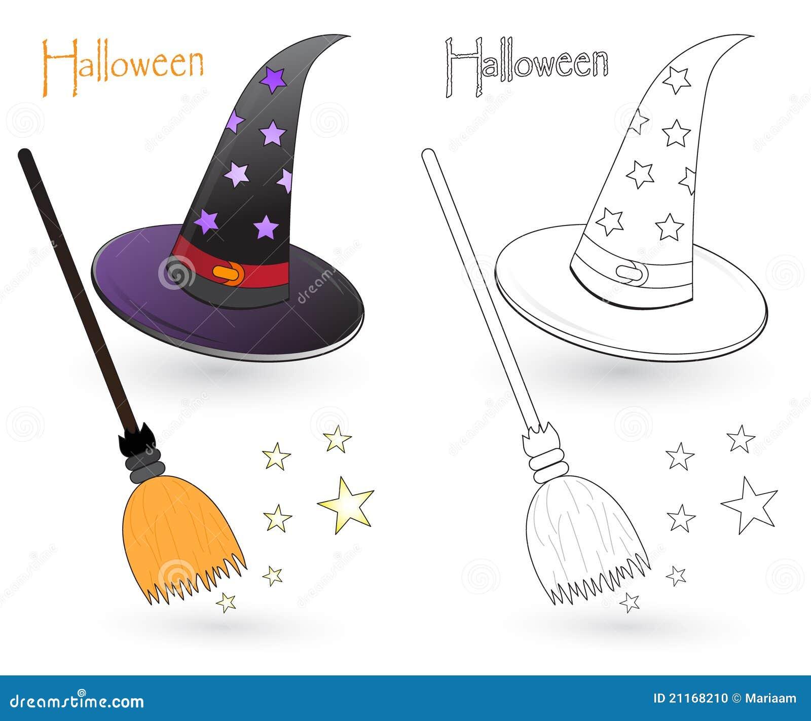 Chapéu e vassoura da bruxa