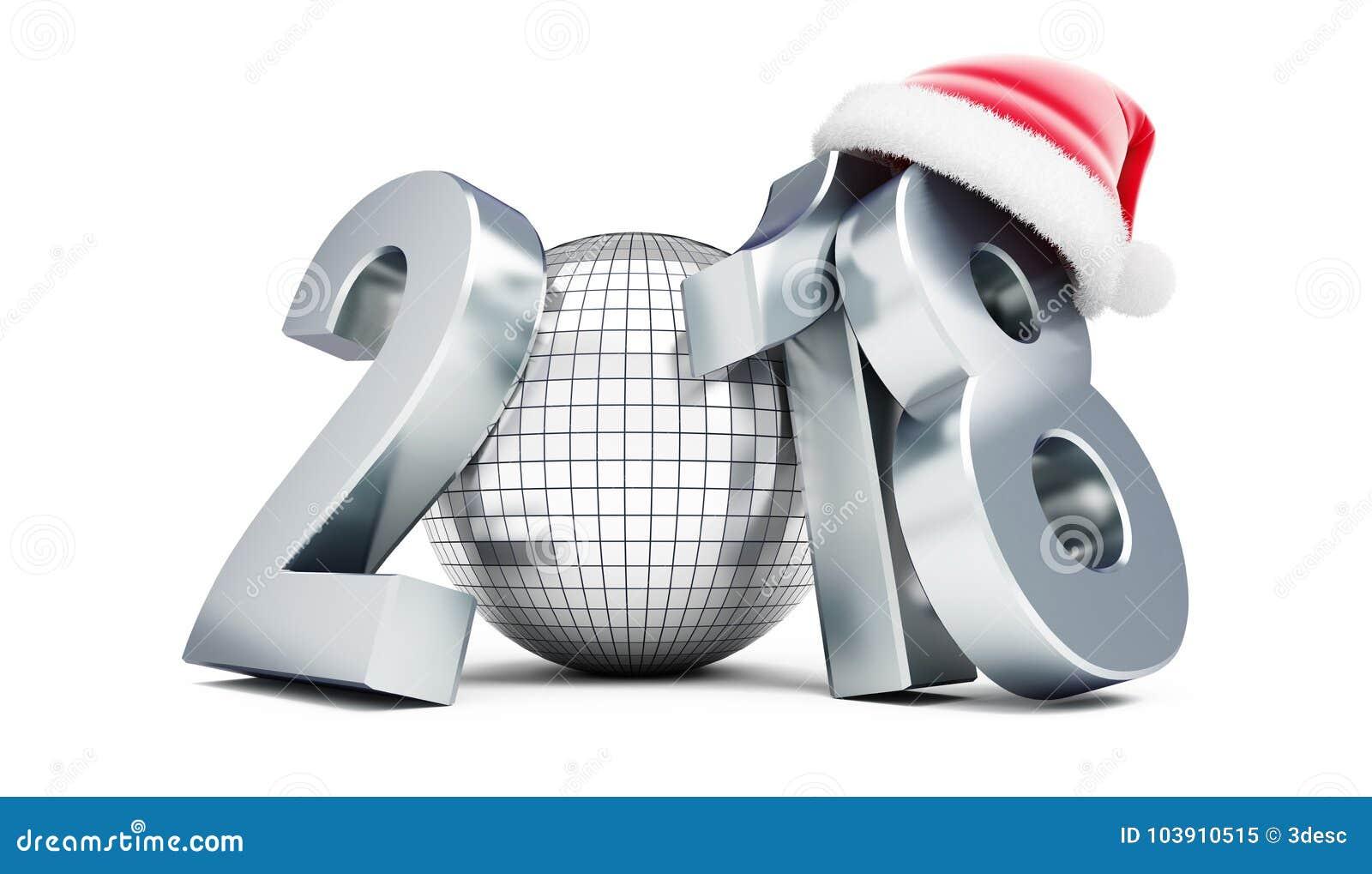 Chapéu 2018 em uma ilustração branca do fundo 3D, rendição de Santa do ano novo da bola do disco 3D