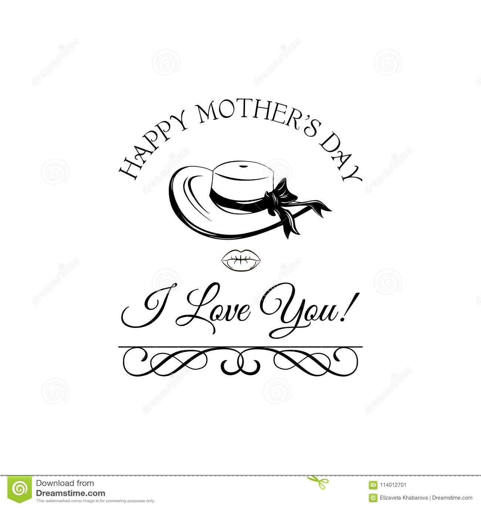 Chapéu Largo-brimmed cartão do dia de mães Redemoinhos, quadro filigrana ornamentado Vetor