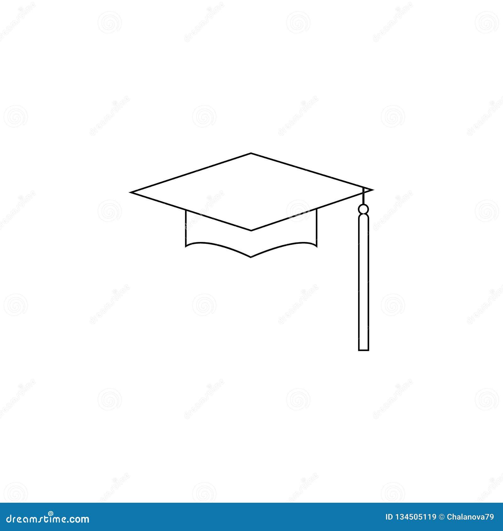 Chapéu Logo Template Design Elements da graduação Ilustração do vetor isolada no fundo branco