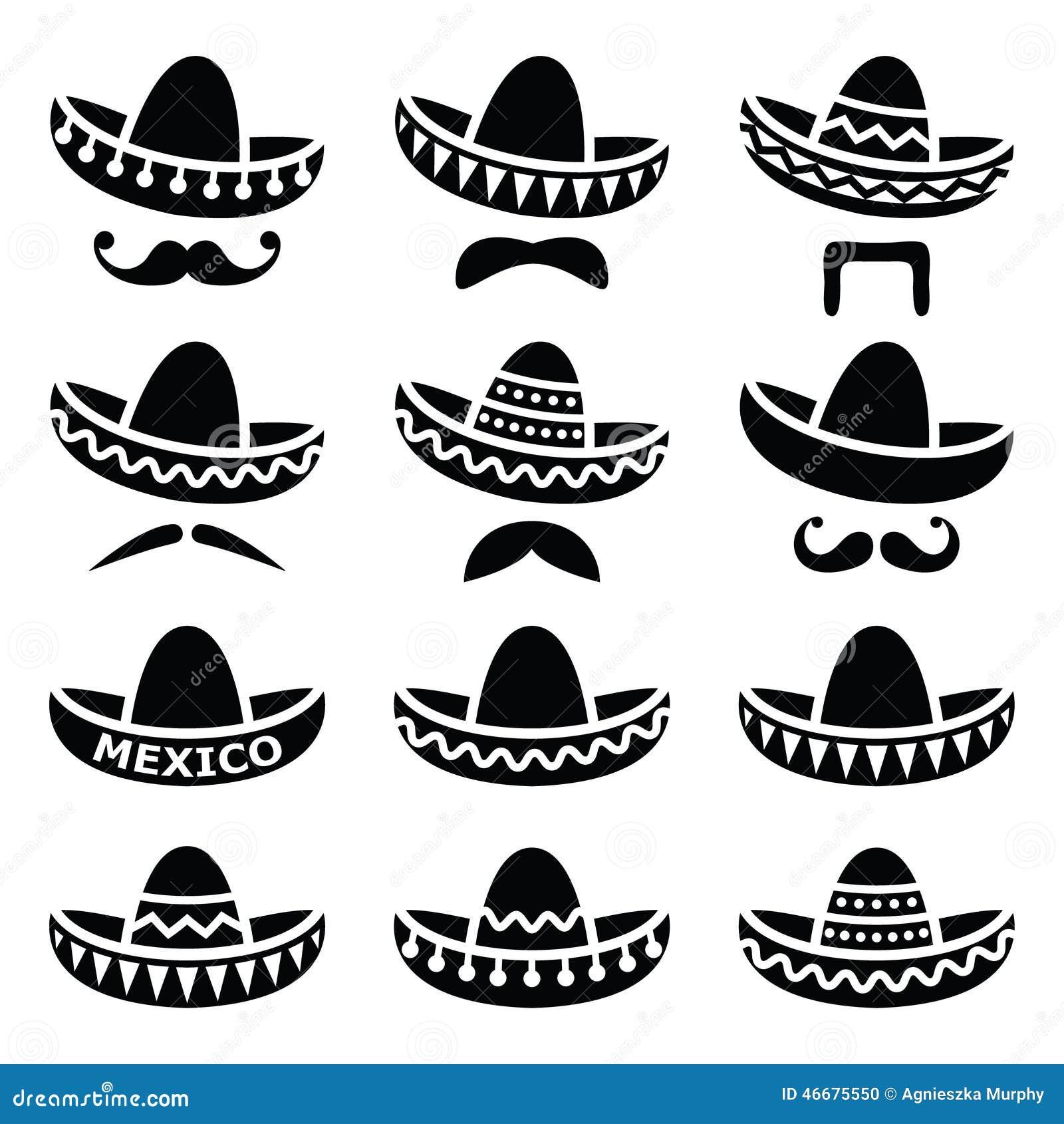 Chapéu Mexicano Do Sombreiro Com ícones Do Bigode Ou Do Bigode ... 7dc30e1a3d8