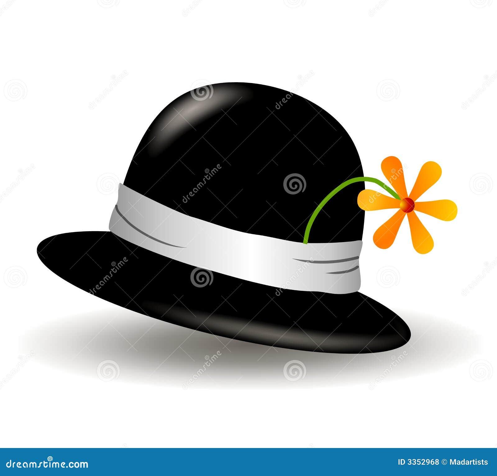 Chapéu negro com arte de grampo da flor