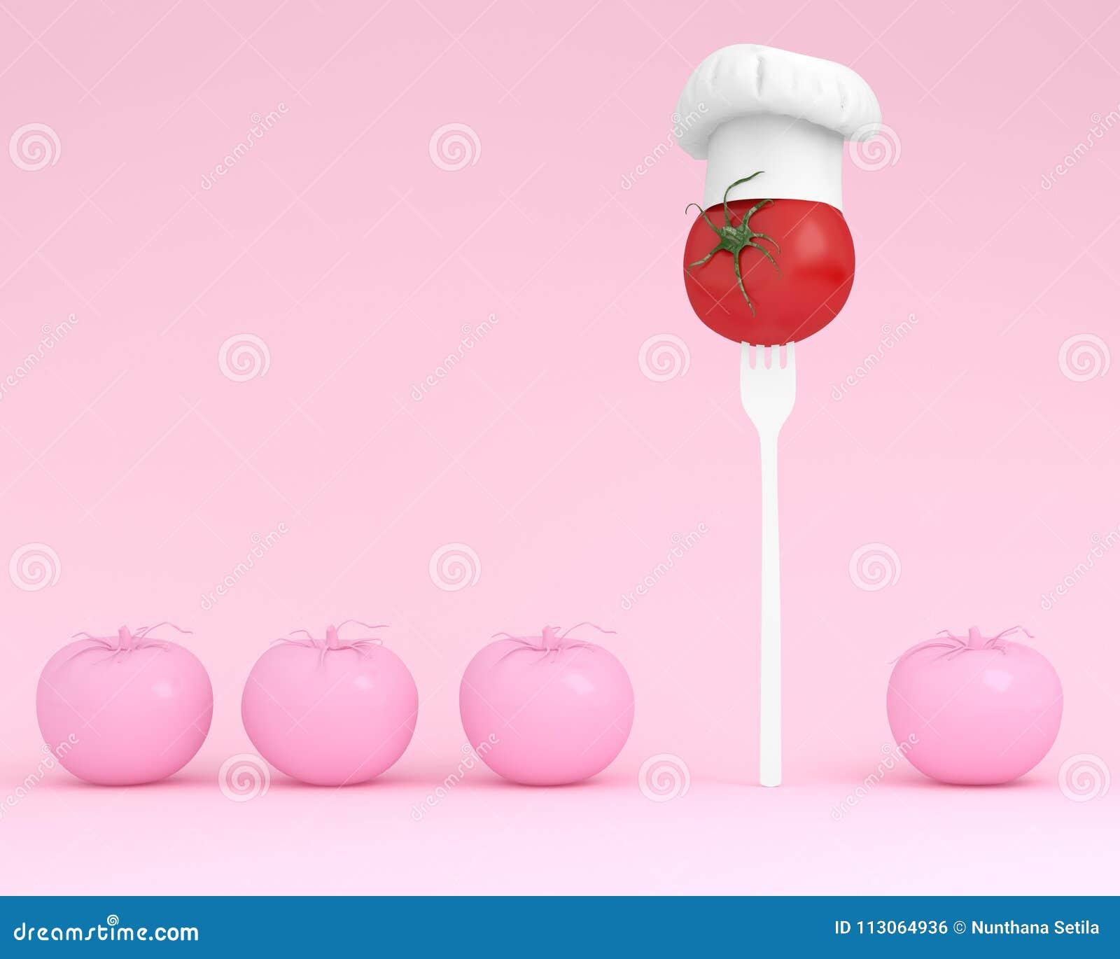 Chapéu proeminente do cozinheiro chefe da disposição criativa com conceito do tomate sobre perto