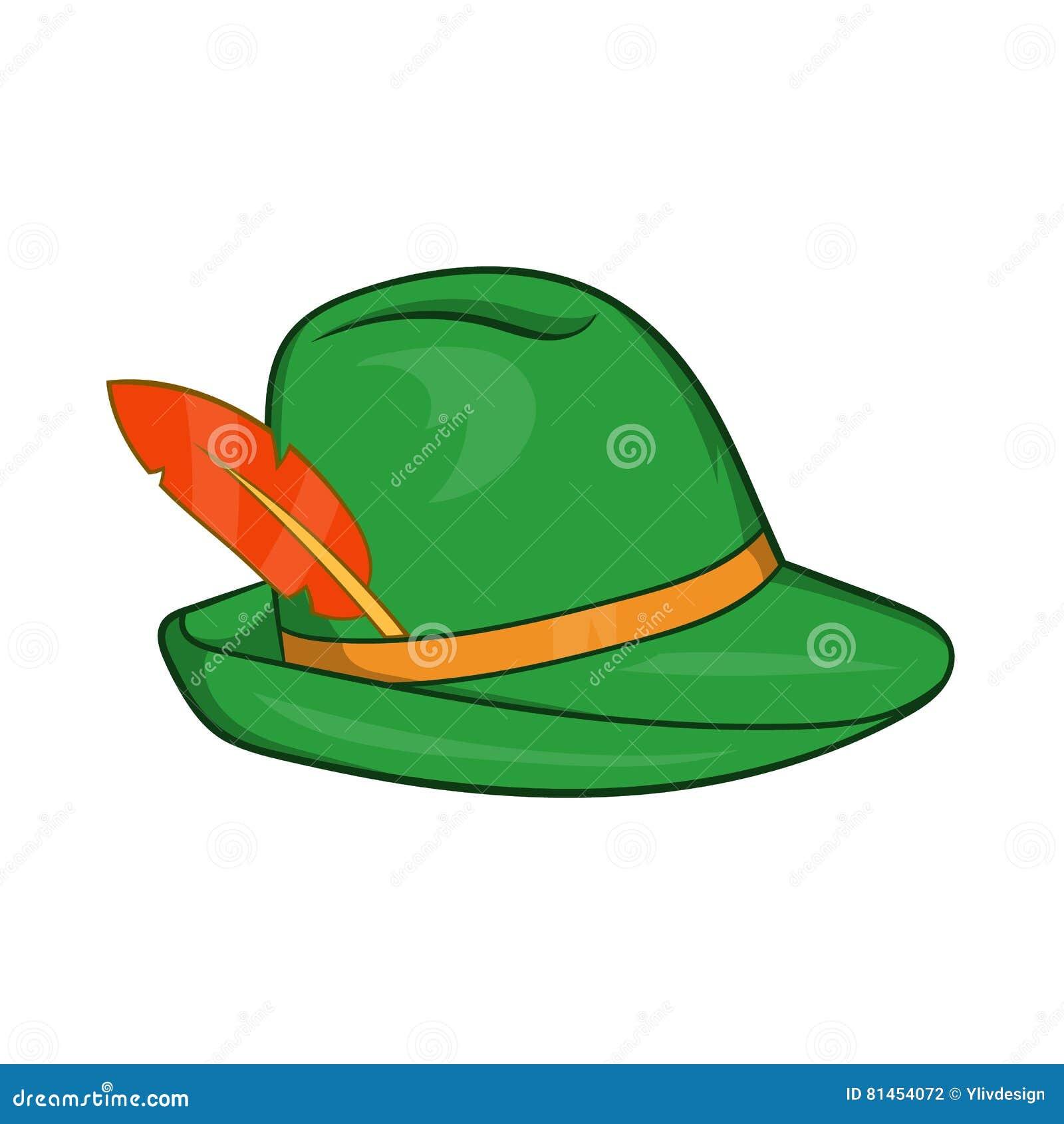 Chapéu verde com um ícone da pena no estilo dos desenhos animados em um  fundo branco bdfb8810d66