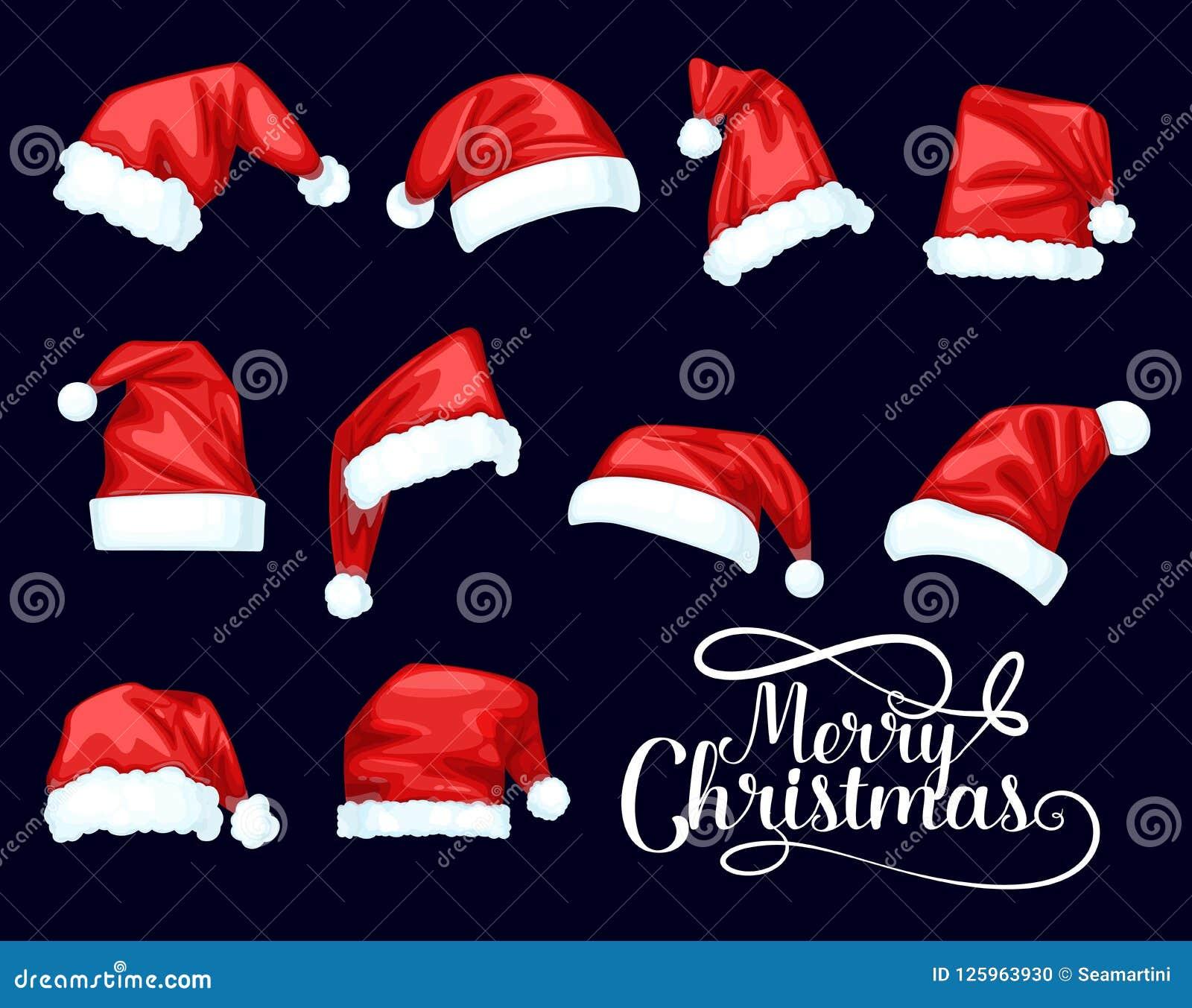 Chapéus do vermelho de Santa Claus do Feliz Natal