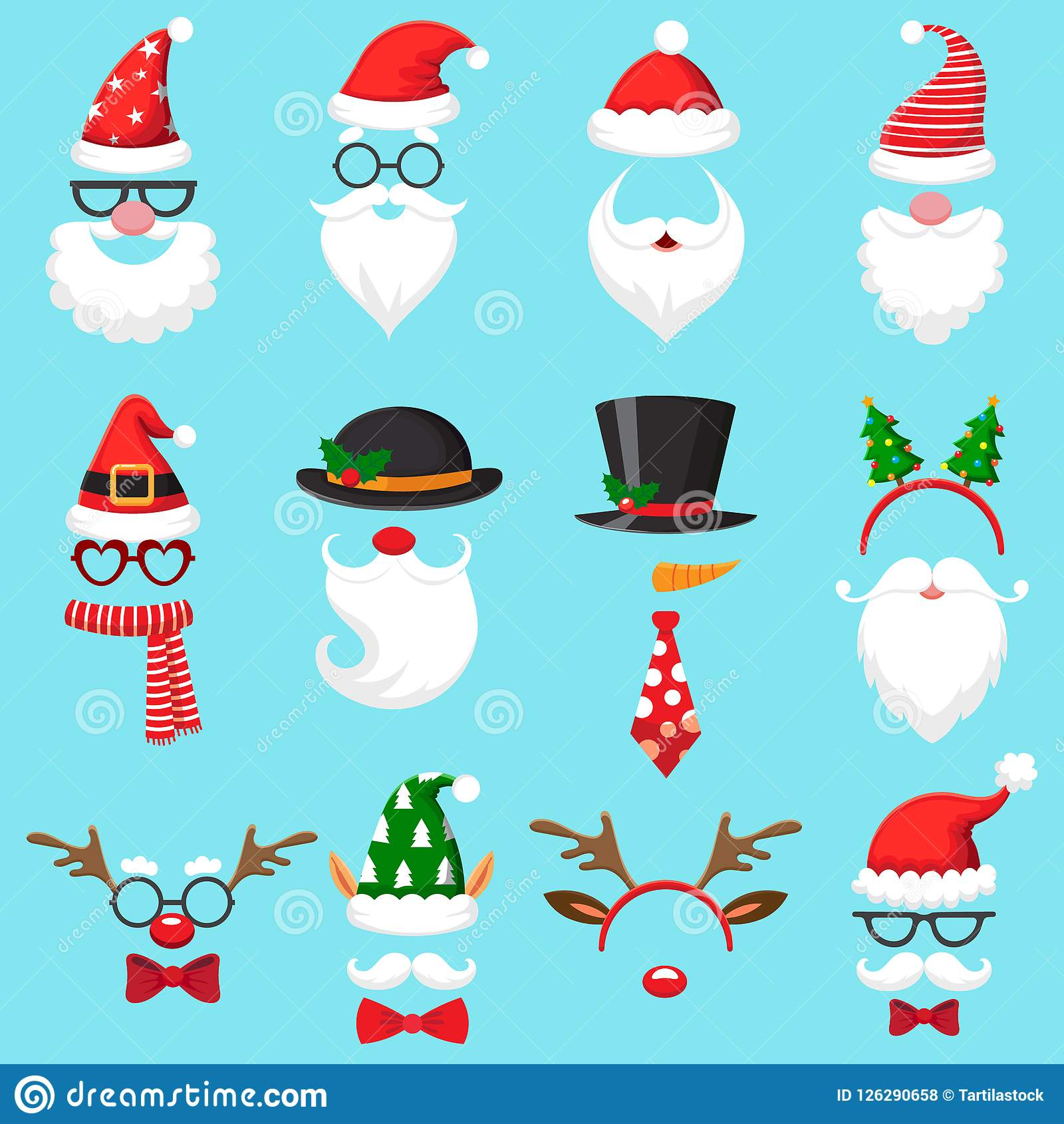 Chapéus dos desenhos animados do Natal Chapéu do Xmas Santa, tampão do duende e máscara da foto da rena Barba de Santa e grupo do