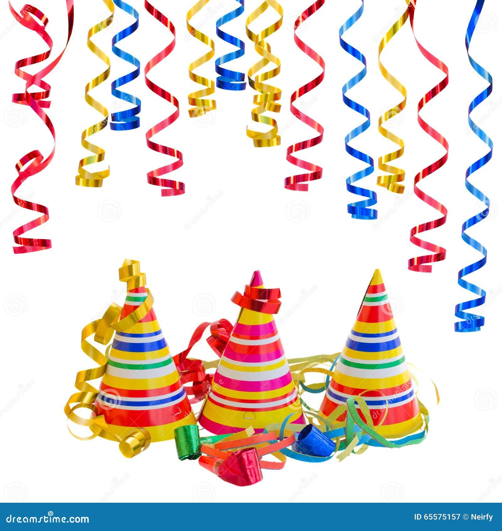 Chapéus e serpentina para o carnaval