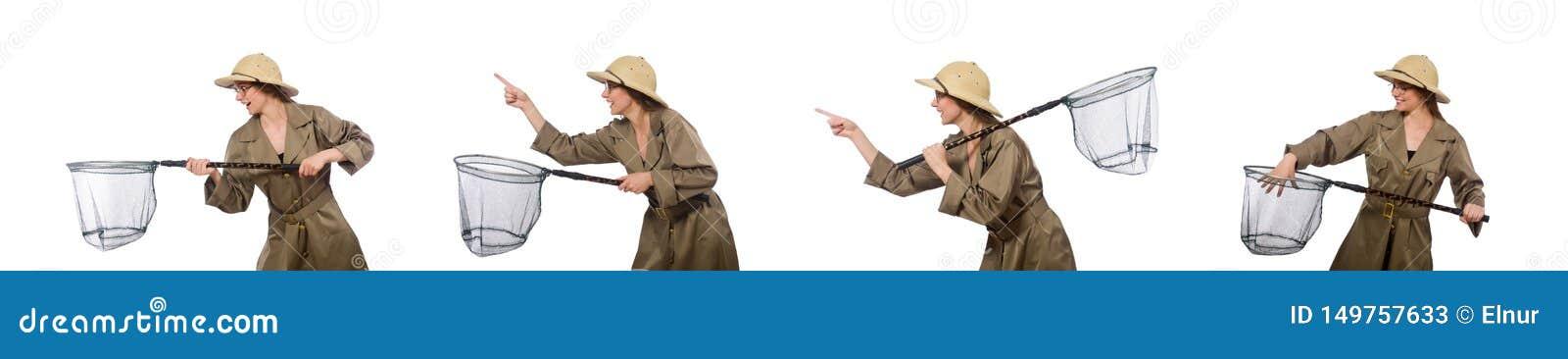 Chap?u vestindo do safari da mulher no branco