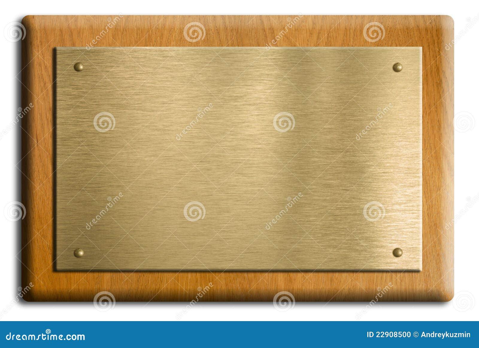 Chapa De Madeira Com Ouro Ou A Placa De Bronze Foto de Stock Imagem  #85A724 1300x962