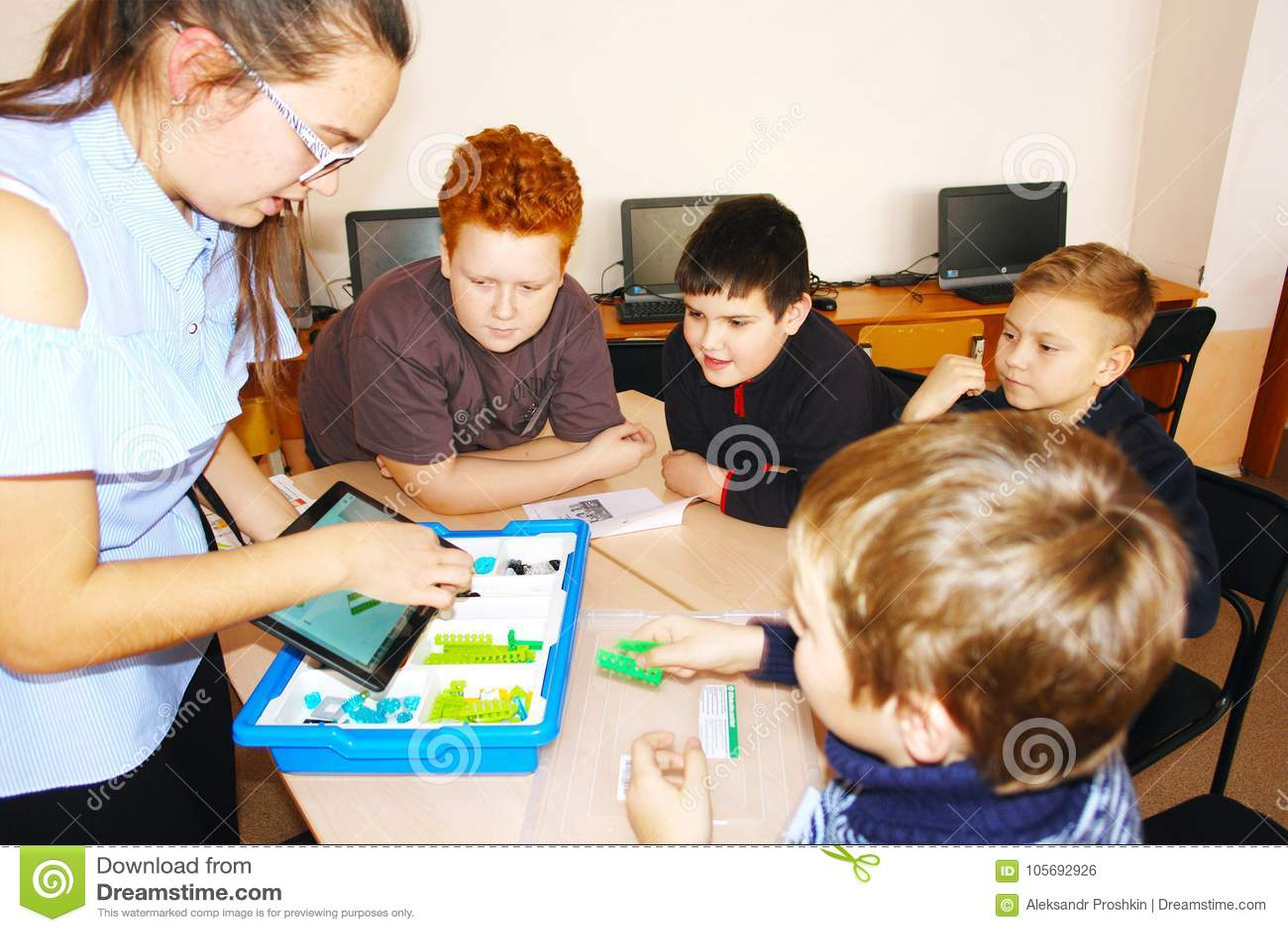 CHAPAEVSK, SAMARA REGION, RUSSIA - DECEMBER 07, 2017: School kids in class with teacher woman