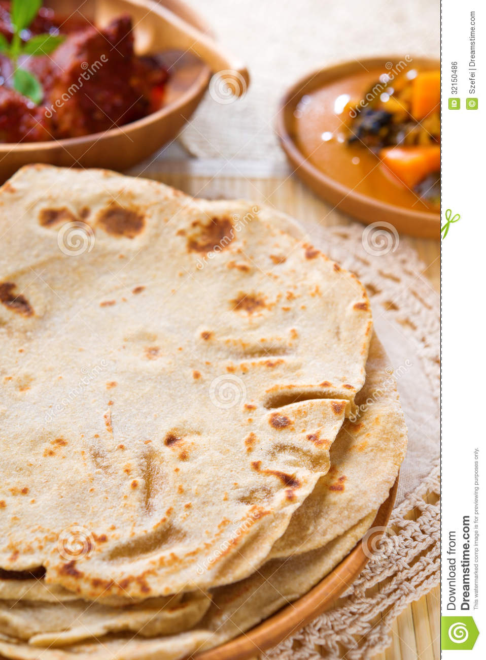Chapati or Flat bread, Indian food, made from wheat flour dough ...