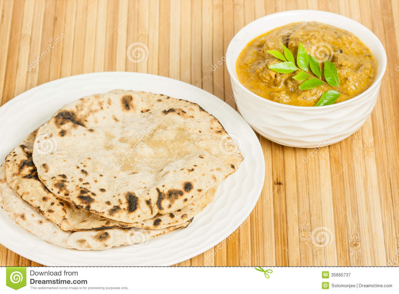 Chapati With Indian Mutton Curry Royalty Free Stock