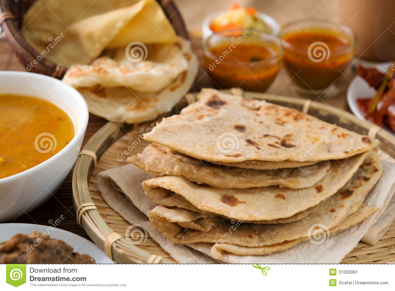 Chapati or Flat bread, roti canai, Indian food, made from wheat flour ...