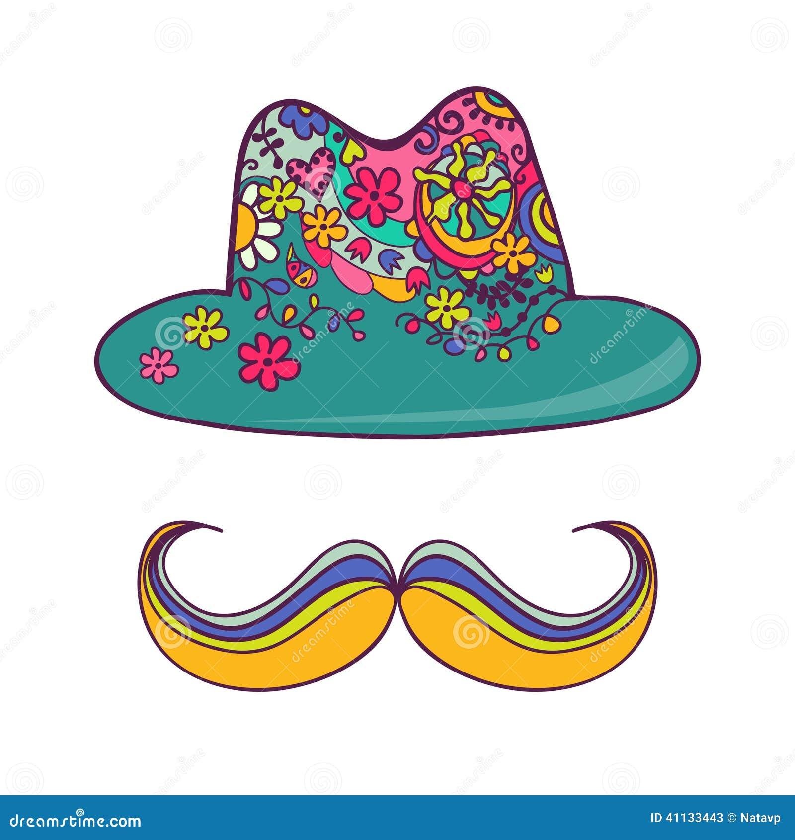 Chapeau color et moustache d 39 isolement sur le blanc - Dessin de moustache ...
