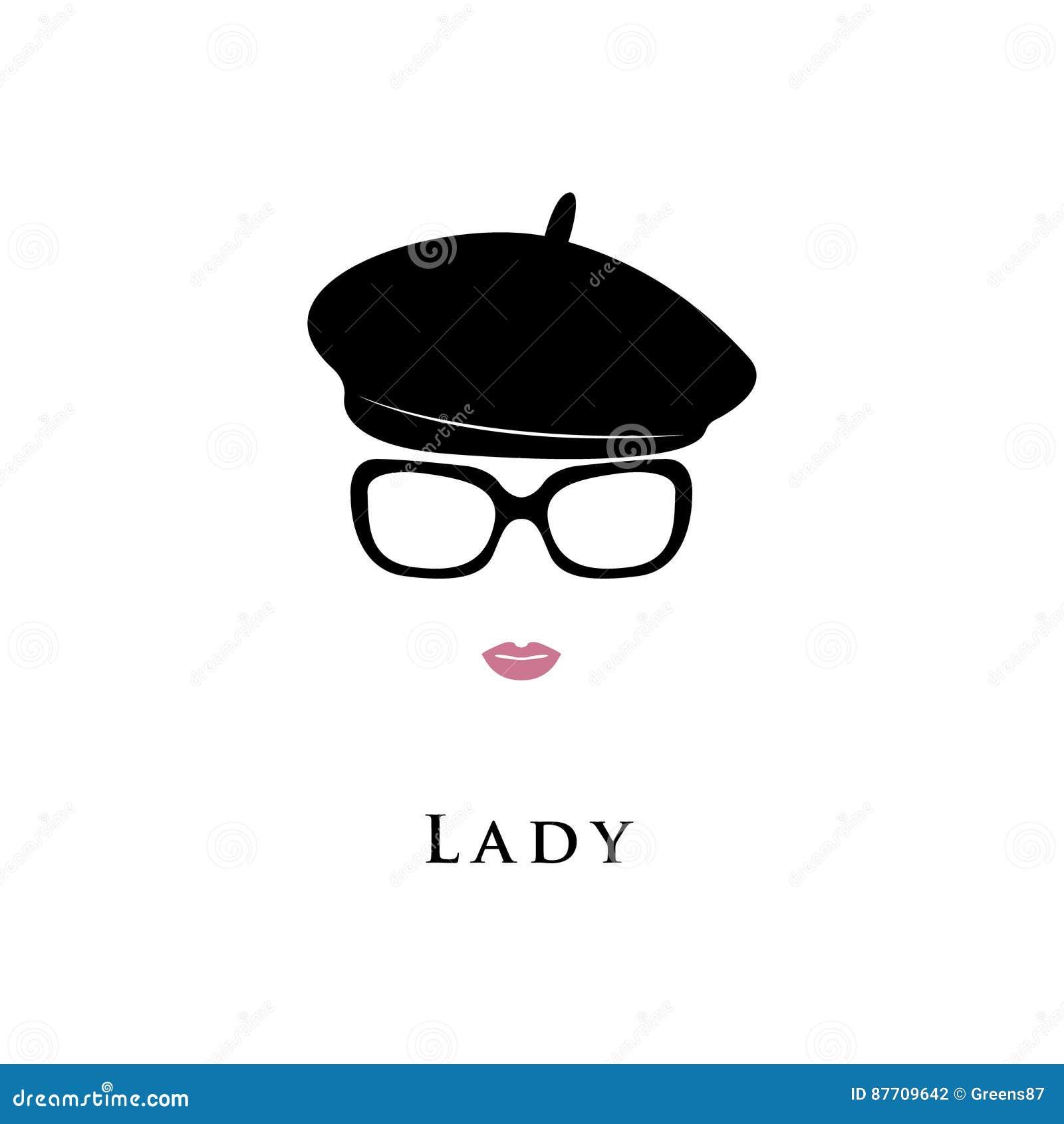 Chapeau de béret Madame en chapeau noir et verres