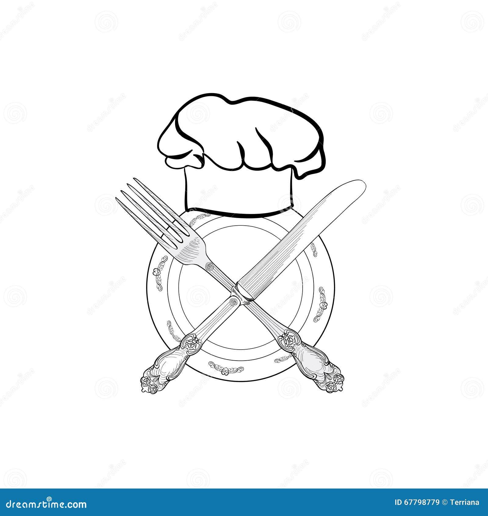 Chapeau de cuisinier de chef avec le label de croquis de - Cuisinier dessin ...