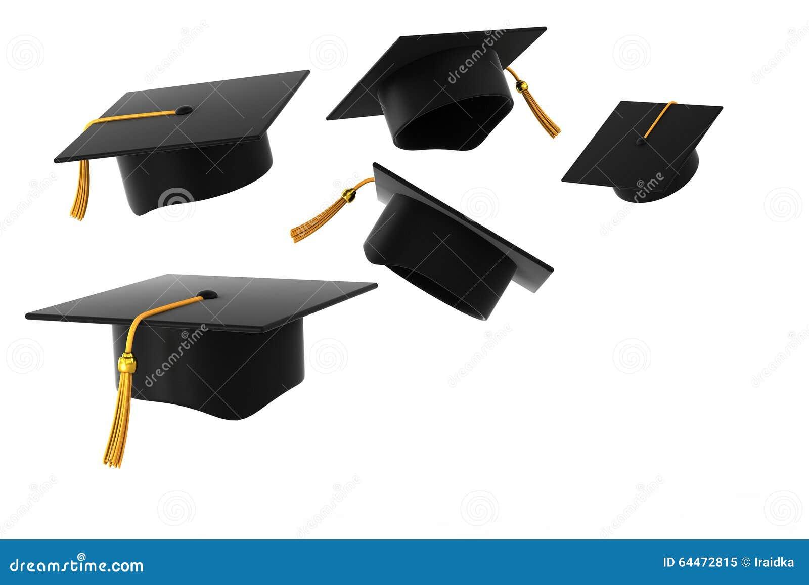 Chapeau de graduation sur le fond blanc
