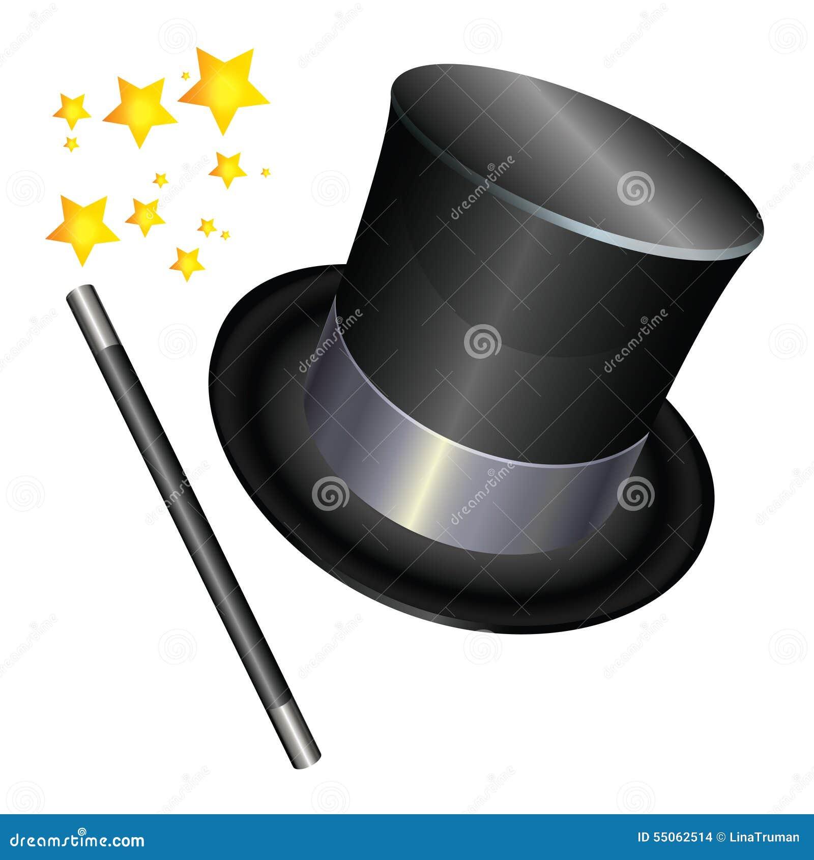 chapeau de magicien sur le fond blanc