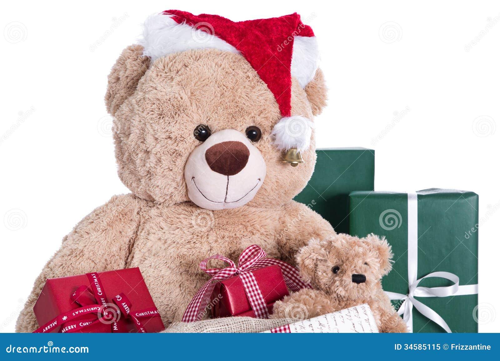 Chapeau de port de no l d 39 ours de nounours avec des cadeaux d 39 isolement sur le ba blanc photo - Nounours noel ...