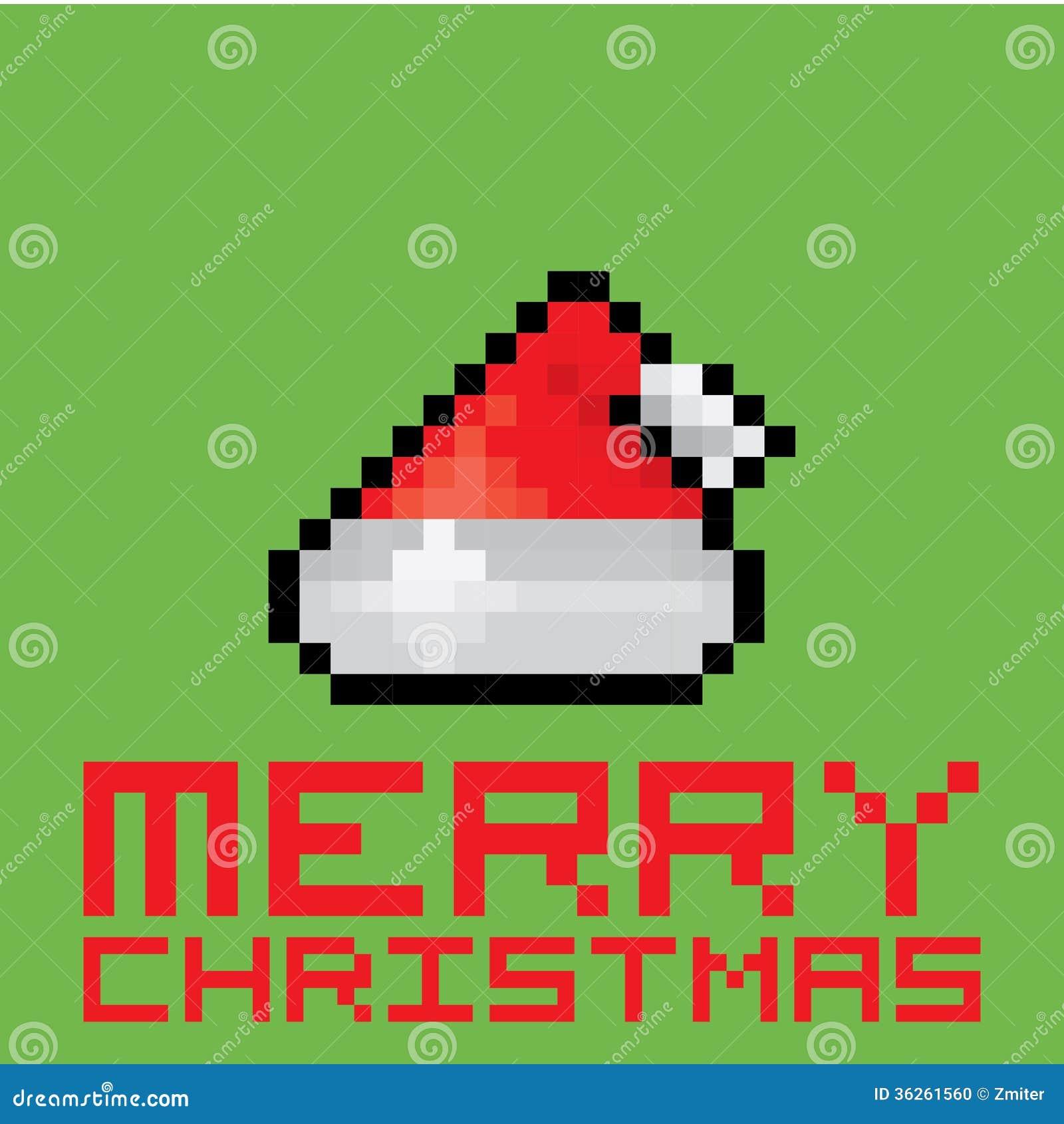Chapeau De Rouge Du Père Noël De Pixel Illustration De
