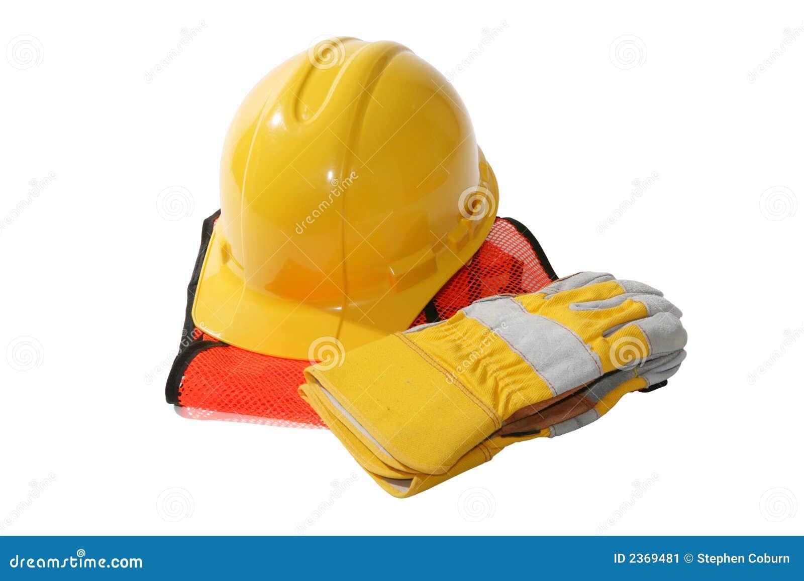 Chapeau et gants de construction