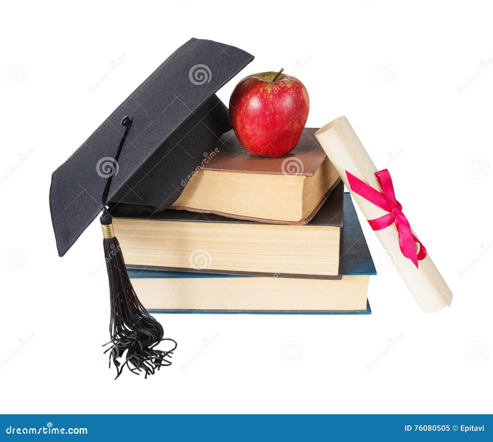 Chapeau, livres, pomme et rouleau licenciés