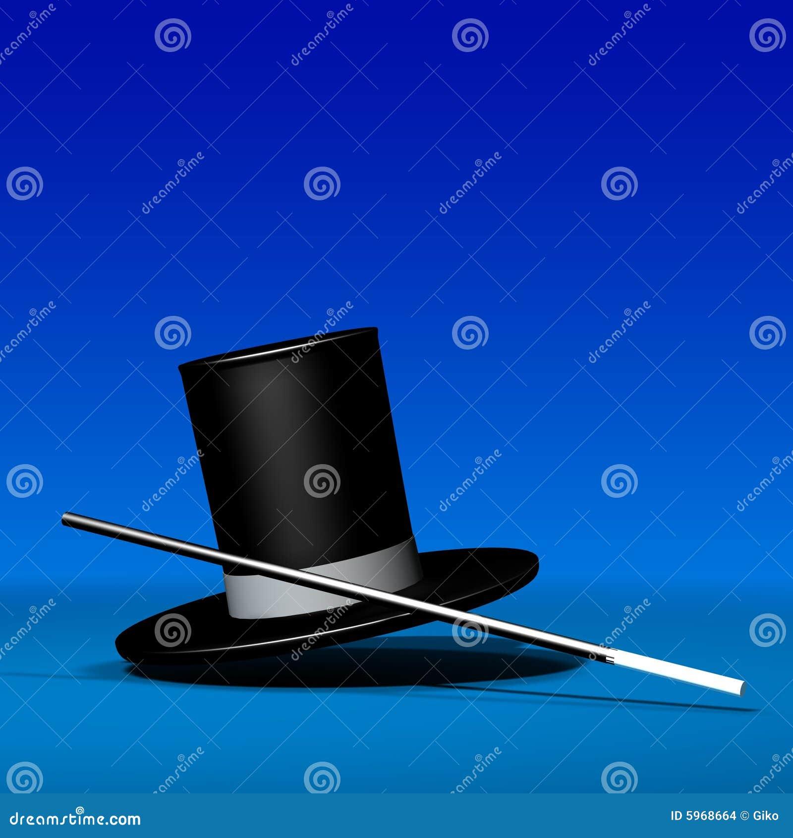 Chapeau magique avec la baguette magique