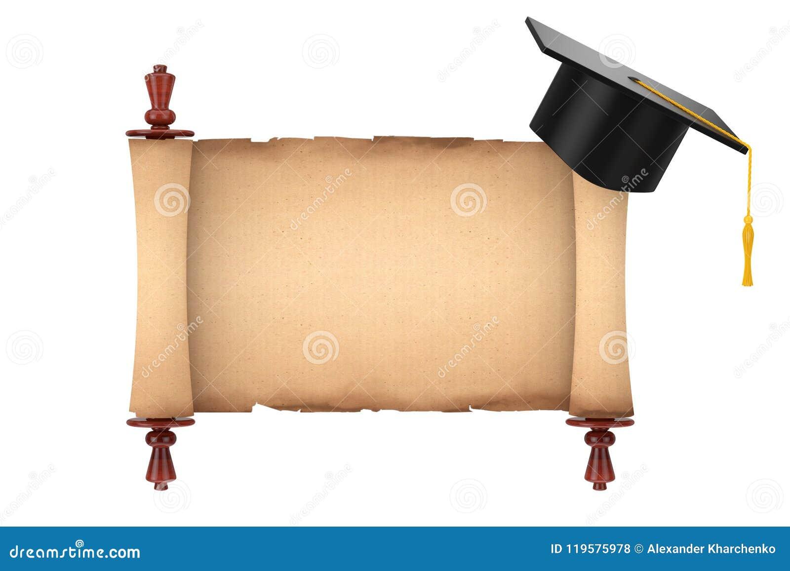 Chapeau scolaire d obtention du diplôme au-dessus du vieux parchemin de papier vide MOIS de rouleau