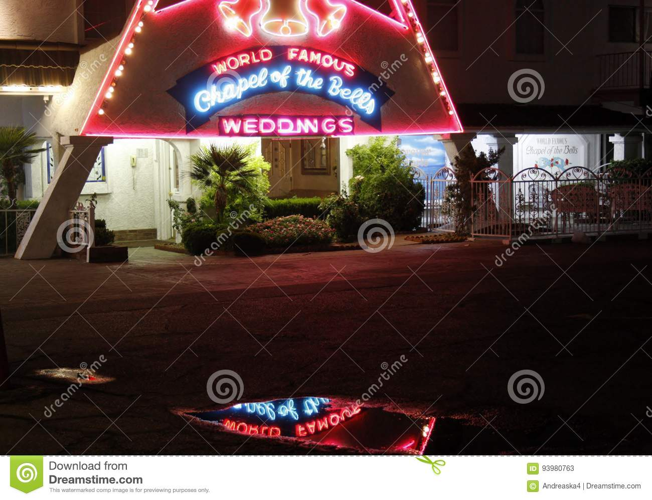 Chapel Of The Bells At Night Las Vegas Editorial Stock