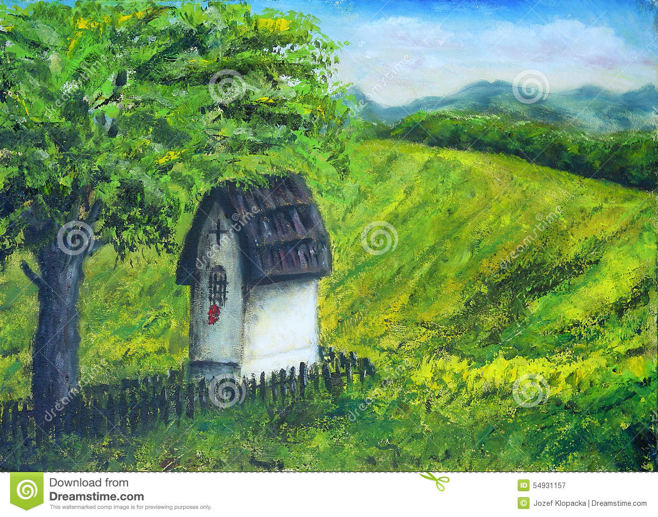 Chapel In Nature Under The Linden Tree, Color Oil Painting. Beau ...