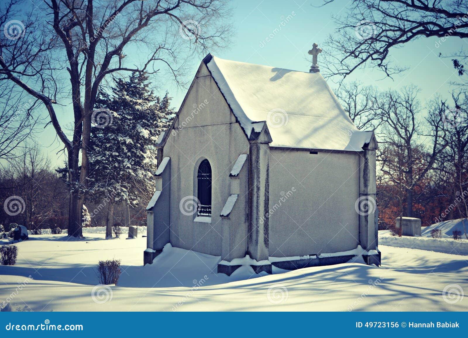 Chapel in Snowy Cemetary