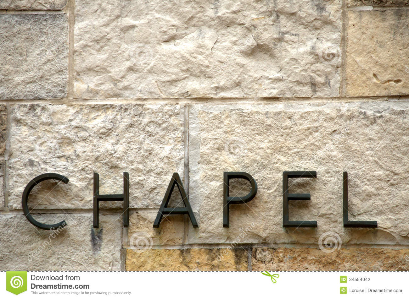 Metal Letters For Wall chapel text on stone stock photography - image: 34554042