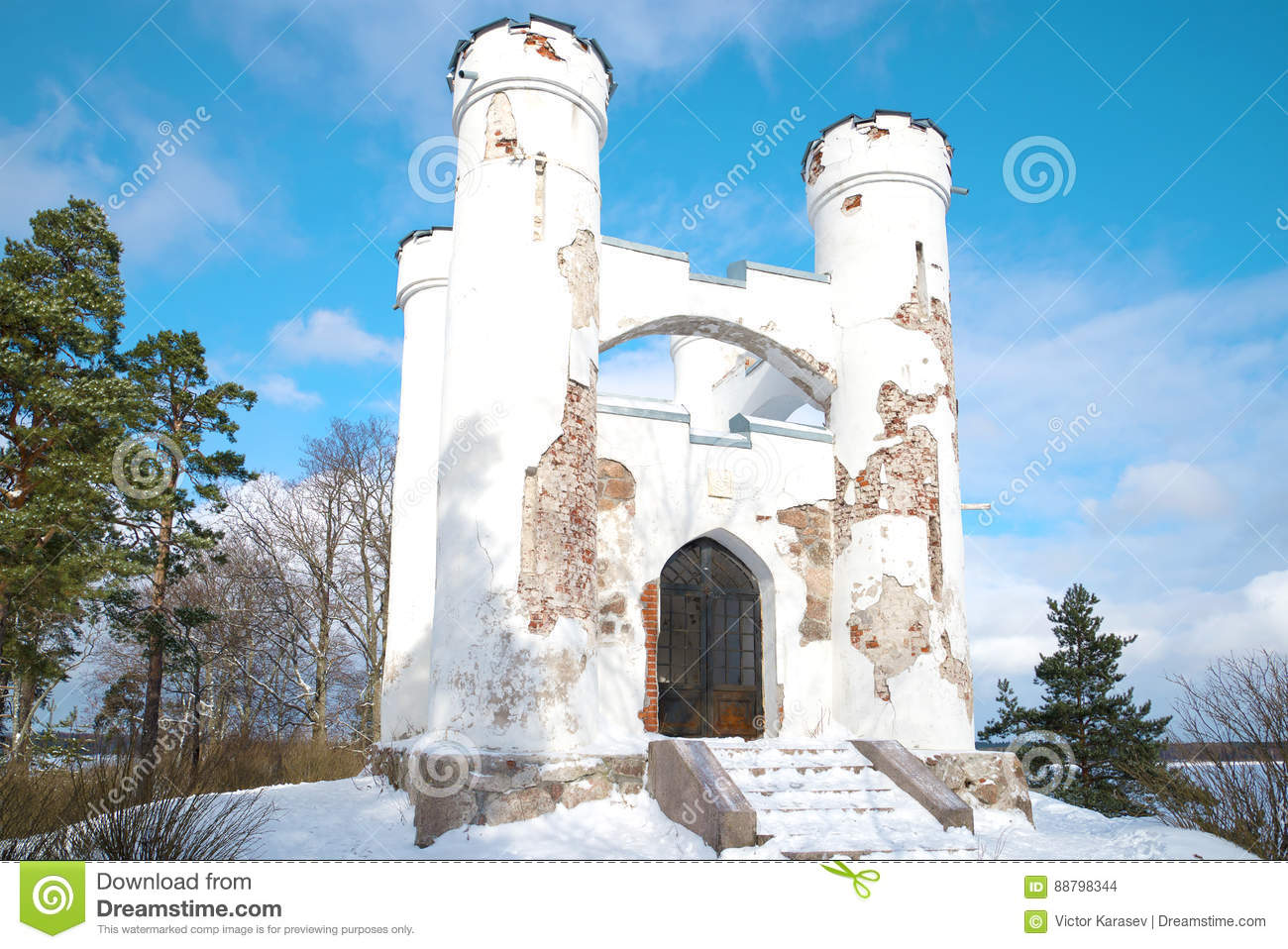 Chapel tomb of Lyudvigsburg on the Island of the Dead close up in the sunny February afternoon. Monrepos Park in Vyborg, Russia