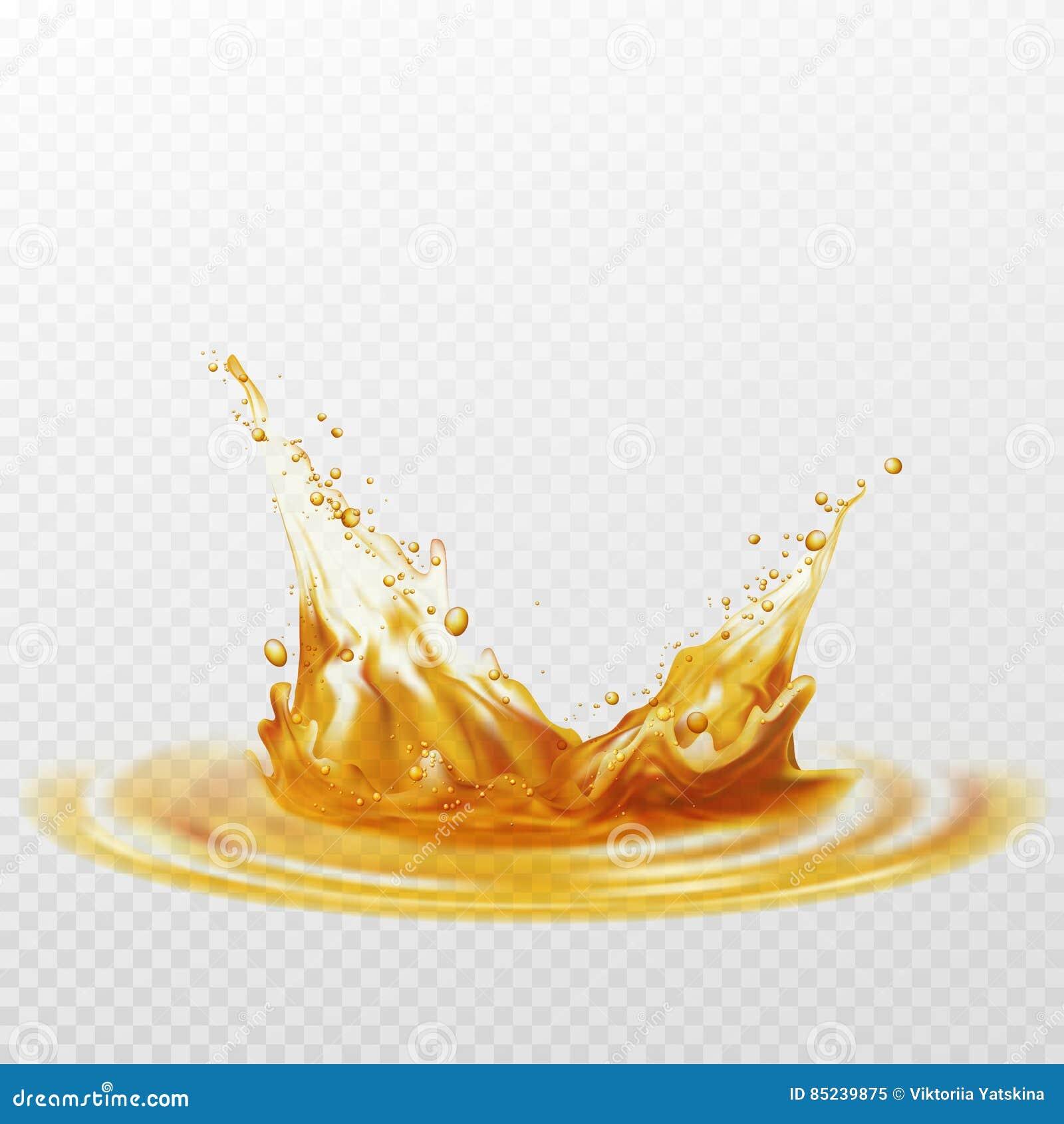 Chapoteo de la espuma de la cerveza del color blanco y amarillo en un fondo transparente Ilustración del vector