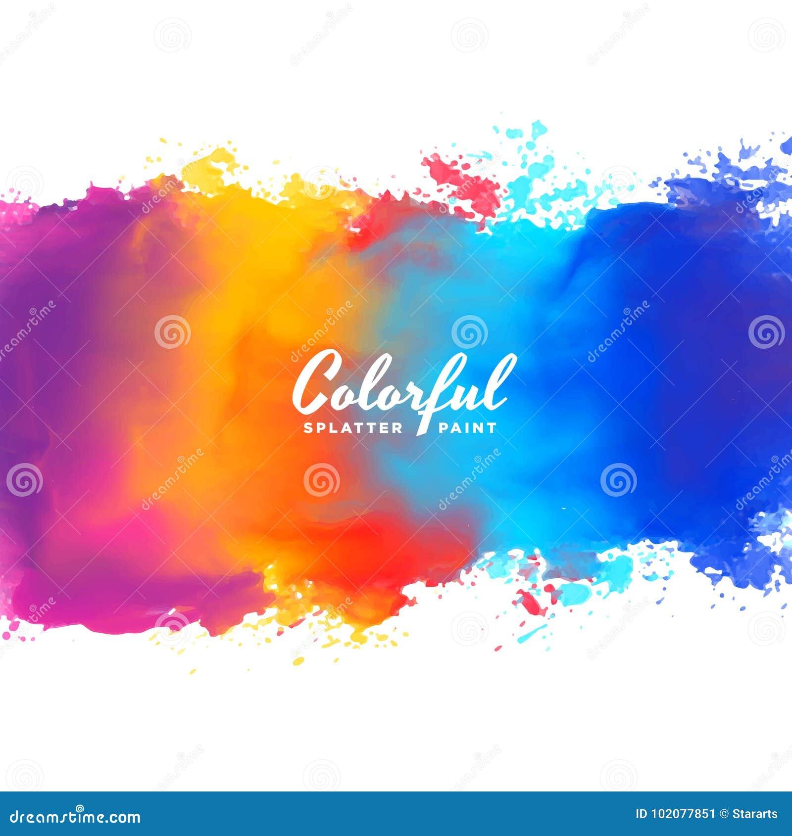 Chapoteo de la pintura de la mano del fondo de la acuarela en muchos colores