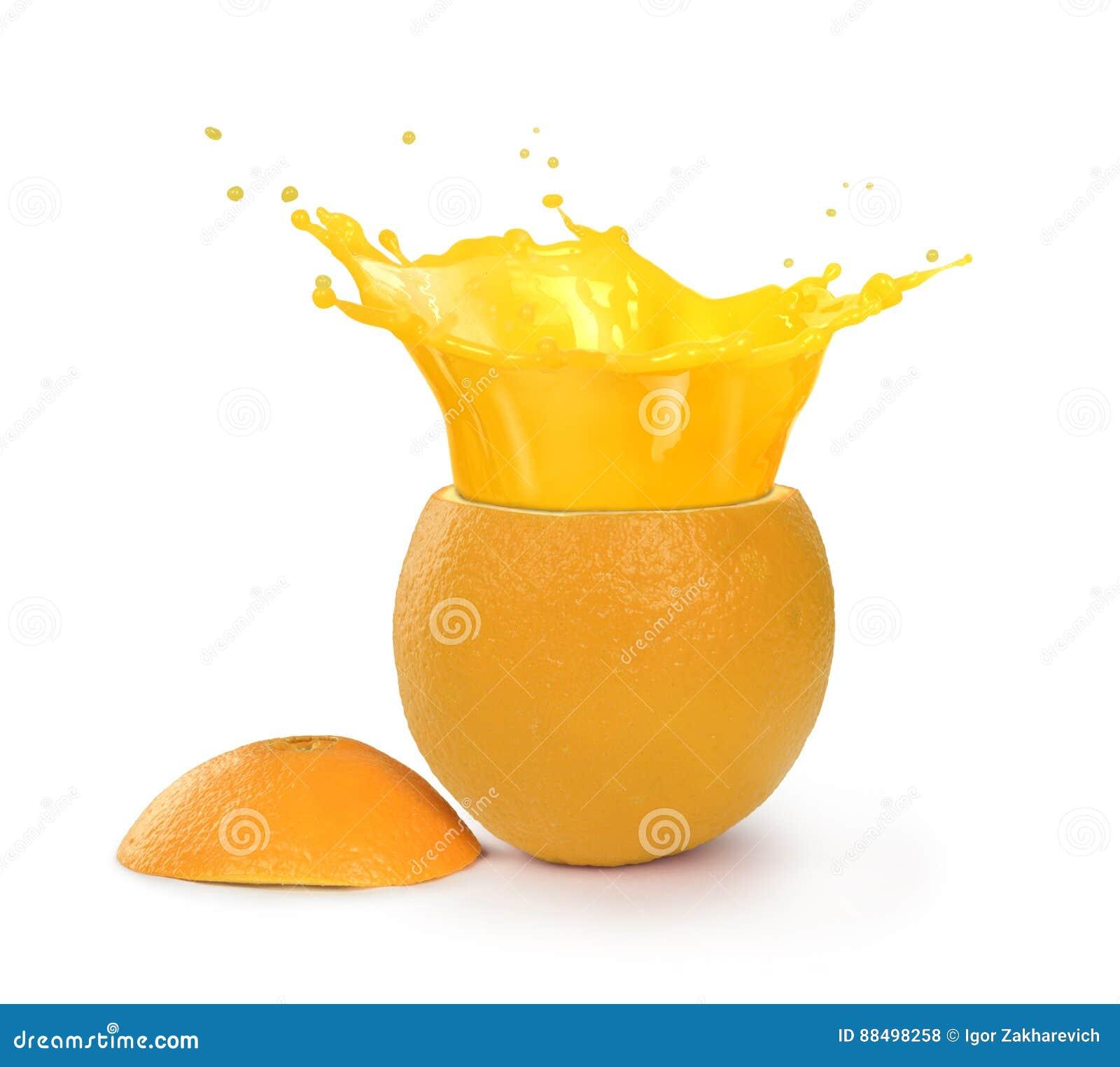 Chapoteo del jugo de Orage en naranja