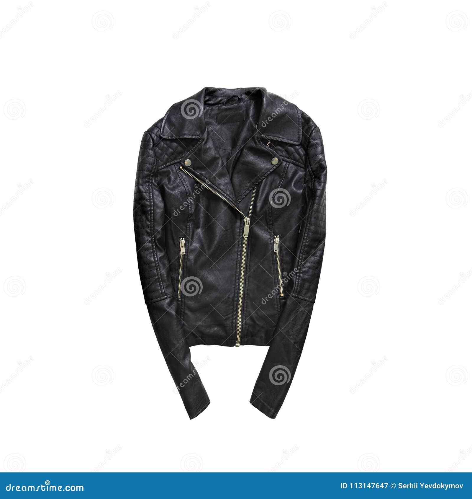 Chaqueta de cuero negra concepto de moda Aislado parte posterior del blanco