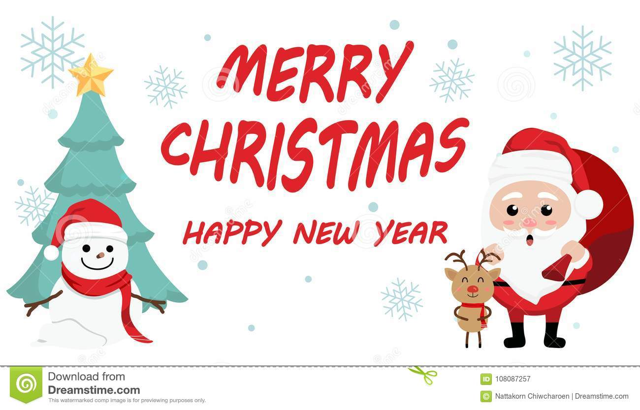 Christmas Festival Cartoon Images.Character Cartoon Cute Christmas Day Merry Christmas Happy