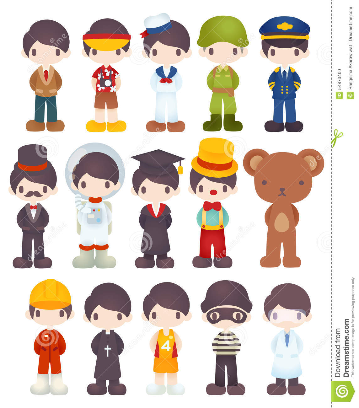 Character Design Job Offer : Character cartoon in various job stock vector