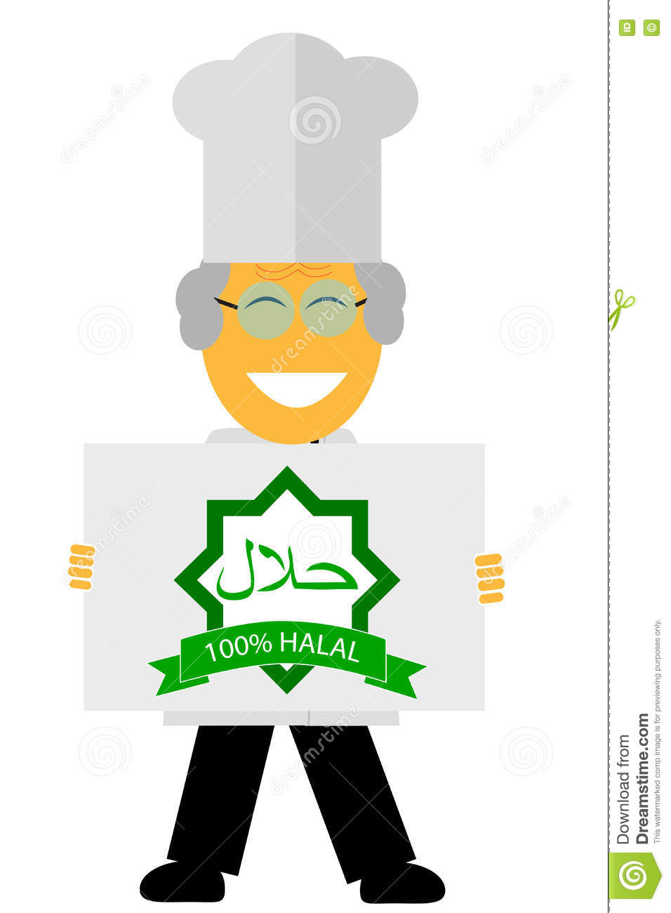 Blue apron halal - Character Chef Holding A Halal Sign